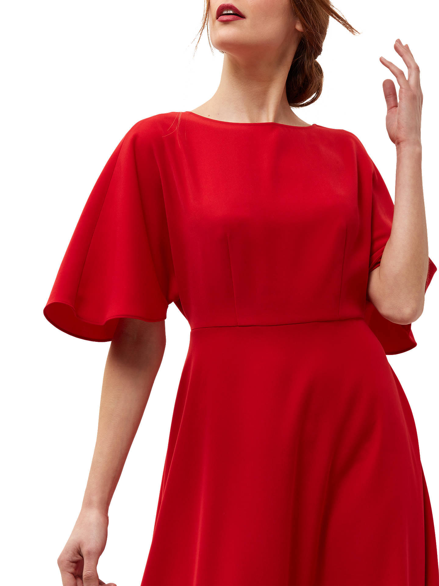 6a394b7f1e3c Jaeger Batwing Fit-and-Flare Dress, Bright Red at John Lewis & Partners