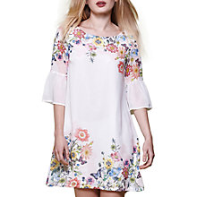 Buy Yumi Floral Print Flared Sleeve Dress, Ivory Online at johnlewis.com
