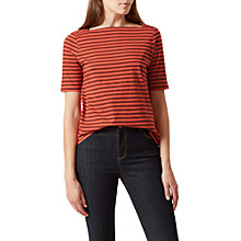 Buy Hobbs Maggie Stripe T-Shirt, Cayenne Sunset Online at johnlewis.com