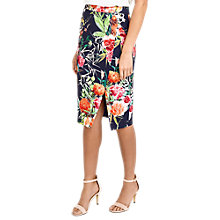Buy Oasis Floral Side Slit Pencil Skirt, Multi Online at johnlewis.com