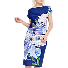 Buy Oasis Statement Floral Drape Dress, Blue Online at johnlewis.com
