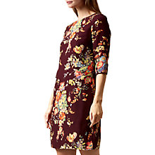 Buy Hobbs Chrissie Floral Print Dress, Burgundy/Multi Online at johnlewis.com
