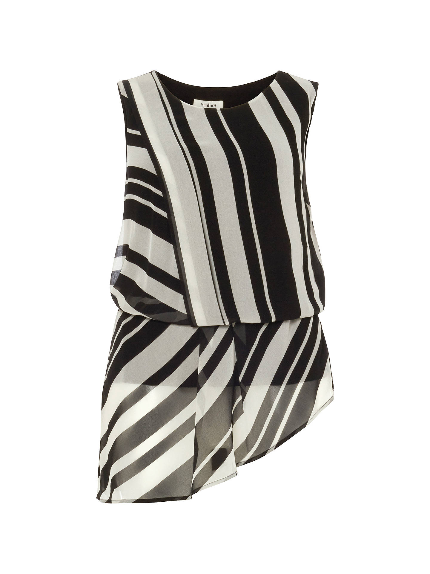 Buy Studio 8 Dita Top, Black/White, 26 Online at johnlewis.com