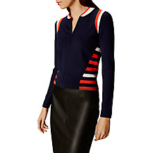 Buy Karen Millen Sporty Stripe Zip Front Knitted Bomber Jacket, Blue/Multi Online at johnlewis.com
