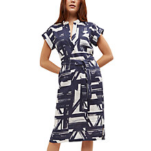 Buy Jaeger Linen Brushstroke Belt Dress, Navy/Ivory Online at johnlewis.com