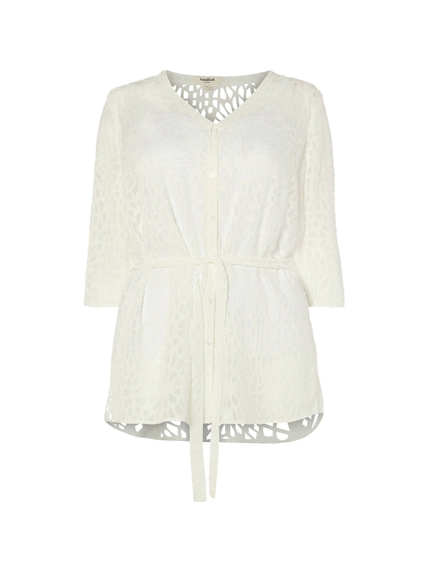 BuyStudio 8 Holly Burnout Blouse, White, 12 Online at johnlewis.com