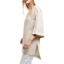 Buy Jaeger Linen Split Detail Tunic Top, Ecru Online at johnlewis.com