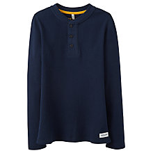 Buy Little Joule Boys' Cotton Piqué Henley Long Sleeve Sweater, Navy Online at johnlewis.com