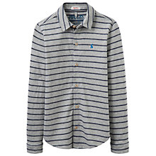 Buy Little Joule Boys' Reggie Jersey Long Sleeve Stripe Shirt, Grey Marl Online at johnlewis.com