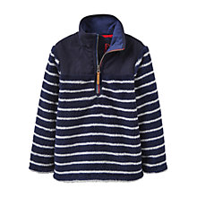 Buy Little Joule Boys' Woozle Stripe Fleece, Navy Online at johnlewis.com