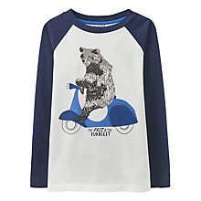 Buy Little Joule Boys' Finlay Bear Scooter T-Shirt, Blue Online at johnlewis.com