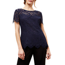 Buy Jaeger Open Back Lace Top, Navy Online at johnlewis.com
