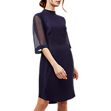 Buy Jaeger Drape Detail Dress, Navy Online at johnlewis.com