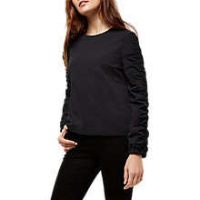 Buy Jaeger Ruched Sleeve Top, Navy Online at johnlewis.com
