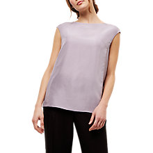 Buy Jaeger Silk Pleat Detail Top, Lilac Online at johnlewis.com
