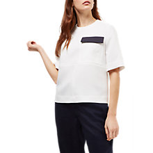 Buy Jaeger Top Stitch Patch Pocket Top, Ivory/Navy Online at johnlewis.com