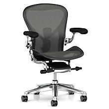 Buy Herman Miller New Aeron Office Chair, Graphite/Polished Aluminium Online at johnlewis.com