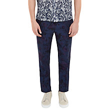 Buy Ted Baker Flotro Floral Print Linen-Blend Trousers, Navy Online at johnlewis.com