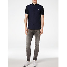 Buy Fred Perry Knitted Collar Oxford Shirt, Navy Online at johnlewis.com