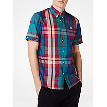 Buy Fred Perry Short Sleeve Bright Madras Plaid Shirt, Chalk Online at johnlewis.com