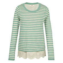 Buy Fat Face Woven Mix Stripe 2 in 1 Jumper, Seafoam Online at johnlewis.com