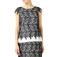 Buy Jacques Vert Leaf Lace Contrast Top, Black Online at johnlewis.com