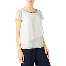 Buy Jacques Vert Jewel Trim Layers Top, Neutral Online at johnlewis.com