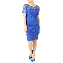 Buy Jacques Vert Petite Floral Lace Dress, Mid Blue Online at johnlewis.com