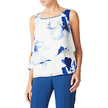 Buy Jacques Vert Floral Print Layer Top, Blue/White Online at johnlewis.com