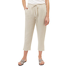 Buy Jaeger Linen Drawstring Trousers, White Online at johnlewis.com