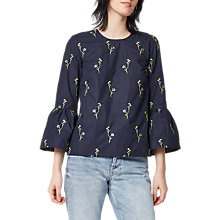 Buy Warehouse Floral Embroidered Cotton Top, Navy Online at johnlewis.com