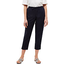 Buy Jaeger Linen Drawstring Trouser, Navy Online at johnlewis.com