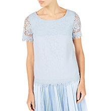 Buy Jacques Vert Lace Layer Top, Pastel Blue Online at johnlewis.com