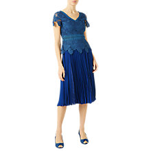 Buy Jacques Vert Plisse Lace Insert Skirt, Blue Online at johnlewis.com