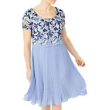 Buy Jacques Vert Floral Plisse Dress, Pastel Blue Online at johnlewis.com