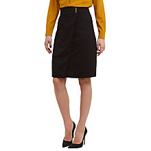 Buy Jaeger Virgin Wool Blend Metal Bar Detail Wrap Skirt, Black Online at johnlewis.com