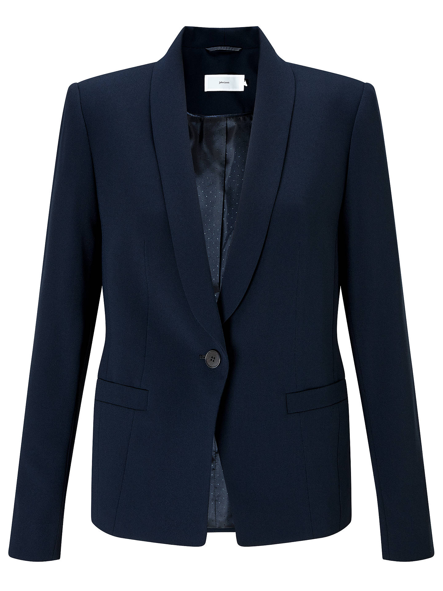 Buy John Lewis & Partners Eva Crepe Jacket, Navy, 8 Online at johnlewis.com