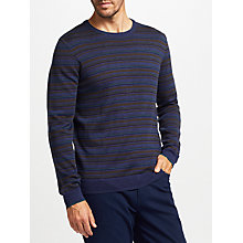 Buy John Lewis Merino Stripe Crew Neck Jumper, Navy Online at johnlewis.com