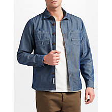 Buy JOHN LEWIS & Co. Denim Herringbone Workwear Shirt Jacket, Navy Online at johnlewis.com