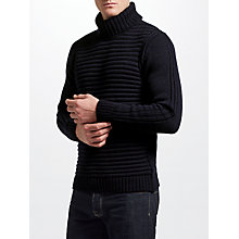Buy JOHN LEWIS & Co. Made in England Ottoman Roll Neck Jumper, Navy Online at johnlewis.com