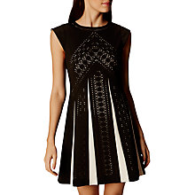 Buy Karen Millen Laser Cut Chevron Detail Flared Dress, Black/White Online at johnlewis.com