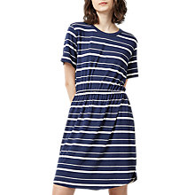 Buy Warehouse Stripe Gathered Waist Dress, Blue Stripe Online at johnlewis.com