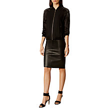 Buy Karen Millen Laset Cut Detail Bomber Jacket, Black Online at johnlewis.com