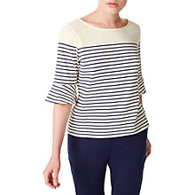 Buy Precis Petite Flute Sleeve Stripe Jersey Top, Light Neutral Online at johnlewis.com