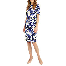 Buy Phase Eight Eloise Palm Print Dress, White/Navy Online at johnlewis.com