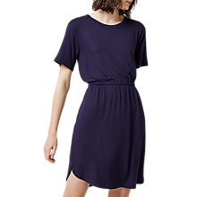Buy Warehouse Gathered Waist T-Shirt Dress, Navy Online at johnlewis.com