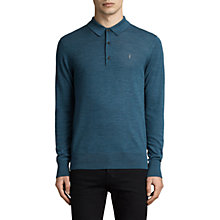 Buy AllSaints Mode Merino Slim Knitted Polo Shirt, Uniform Blue Online at johnlewis.com
