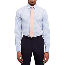 Buy Jaeger Cotton Linen Gingham Shirt, Blue Online at johnlewis.com