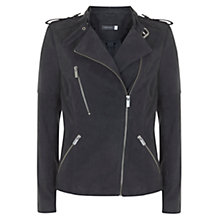 Buy Mint Velvet Suede Collarless Biker Jacket, Granite Online at johnlewis.com