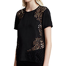 Buy French Connection Gilly Lace Top, Black Online at johnlewis.com